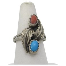 Sterling Silver Native American Ring With Coral and Turquoise