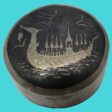 Sterling Silver Pillbox With Siamese Ship Drawing on Top