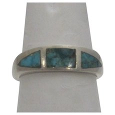 Sterling Silver Band with Inlaid Turquoise
