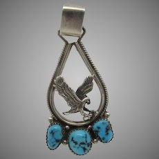 Sterling Silver Jacoby Bender Eagle and Turquoise Pendant