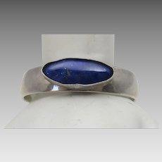 Sterling Silver Paul Livingston Native American Bracelet With Lapis Lazuli Center Stone