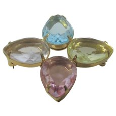 Vintage Avon Pin With Four Teardrop Pastel Lucite Crystals