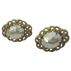 Vintage Signed Miriam Haskell Goldtone Clip on Earrings With Faux Baroque Pearls