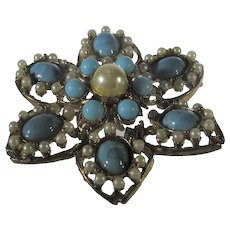 Vintage Goldtone Pin with Faux Turquoise and Faux Pearl