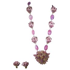 Ian St. Gielar Necklace and Matching Clip on Earrings Set In Floral Pink