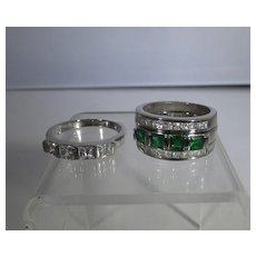 Sterling Silver Interchangeable Ring Set With Clear CZ's or Faux Emerald
