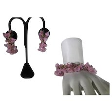 Miriam Haskell Cuff and Matching Clip On Earrings Set in Pink Floral Theme