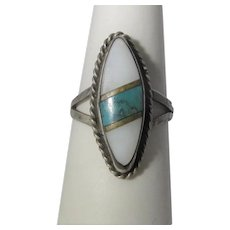 Native American Sterling Silver Ring With Mother of Pearl and Inlaid Turquoise