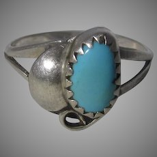 Sterling Silver Native American Ring With Sleeping Beauty Cabochon
