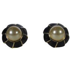 Vintage Kenneth J. Lane Clip On Earrings With Black Enamel and Faux Mabe Pearl