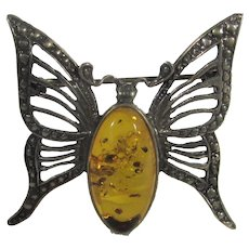 Sterling Silver Amber Butterfly Pin