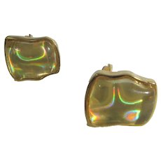 Vintage Modernist Clip On Earrings With Yellow Iridescent Lucite