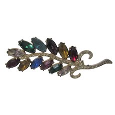 Vintage Joseph Weisner NY Pin With Multi Colored Crystals and Clear Accents