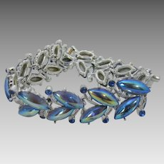 Vintage MId Century Bracelet With Blue  Aurora Borealis Crystal Cabochons and Faux Sapphire Accents
