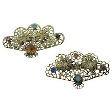 Vintage Set of Two Goldtone Fan Pins With a Variety of Crystal Accents