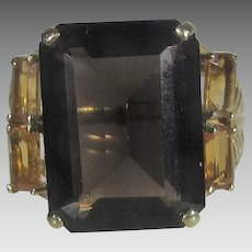 14 Karat Yellow Gold Smokey Quartz and Citrine Ring