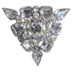Vintage 1940's Clear Crystal Pin With a Variety of Cut Crystal Shapes