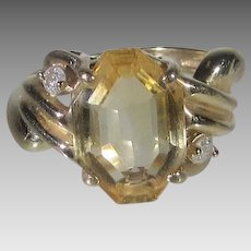 14 Karat Yellow Gold Citrine and Diamond Ring