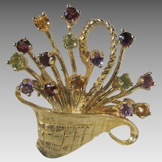 14 Karat Yellow Gold Flower Basket Brooch With Many Gemstone Accents