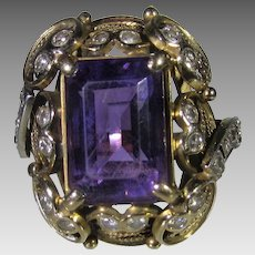 14 Karat Yellow Gold Amethyst DIamond Ring