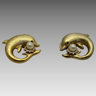 Vintage Goldtone Leaping Dolphin Clip On Earrings