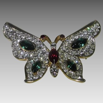 Vintage Bejewelled  Goldtone Butterfly with Pave Crystals