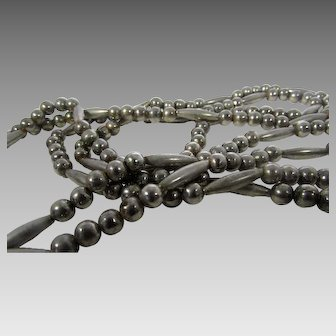 Vintage Silver Tone Southwestern Double Strand Necklace