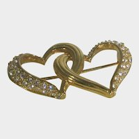 Swarovski Goldtone Entwined Hearts With Clear Crystal Accents
