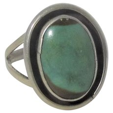 Sterling Silver Native American Ring In Turquoise with Enamel Surround