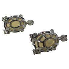 Silver Tone Enamelled Turtle Clip On Earrings