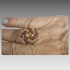 14 Karat Yellow Gold Ruby Diamond Cluster Ring