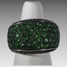 Contemporary 14 Karat White Gold Emerald and Topaz Ring