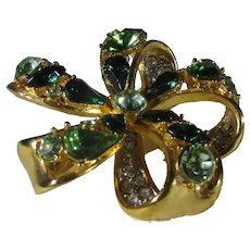 Vintage Nolan Miller Pin With Green and White Crystals