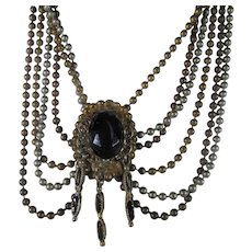 Vintage 1920's Victorian Revival Necklace With Black Crystal and Enamelled Drops