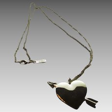 Vintage Signed Goldtone Heart Pierced by An Arrow  Necklace