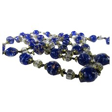 Vintage Venetian Beads Necklace With Cobalt and Clear Beads and Goldtone Barrel Clasp