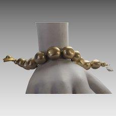 Vintage Signed Carolee Goldtone Faux Pearl Bracelet