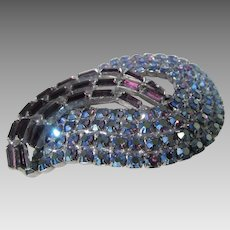 Vintage  Mid Century Pin With Purple Crystal Baguettes  and Blue Aurora Borealis Rounds
