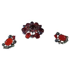 Vintage Mid Century Pin and Matching Clip Earring Set in Unbacked Red Crystals