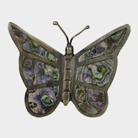 Sterling Silver Taxco Abalone Butterfly Pin
