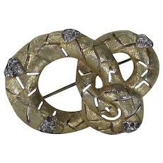 Vintage Jomaz Goldtone Snake Pin With Smokey Crystal Accents