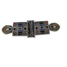 Vintage Faux Jeweled Pewter Tone Pin in Intricate Pattern
