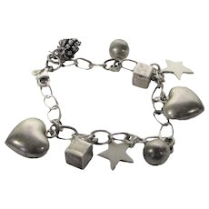 Sterling Silver Charm Bracelet with Nine  Sterling Charms