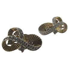 Vintage Jomaz Clip On Earrings with Clear Crystals