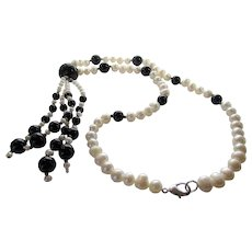 Vintage Freshwater Pearl Necklace With Black Glass Accent