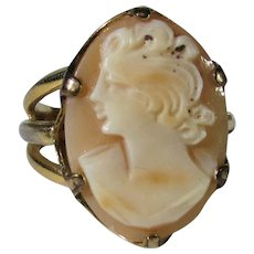 Vintage Signed Vans 18 Karat Gold Filled Cameo Ring
