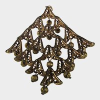 Vintage Mid Century Goldtone Pendant with Lots of Movement