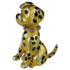 Carolee Signed Spotted Dog Pin with Rhinestone Collar