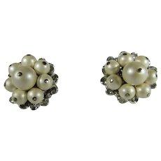 Vintage Schiaparelli Clip On Earrings in Large Faux Pearls