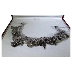 Sterling Silver Charm Bracelet With 19 Unique Charms Most Sterling